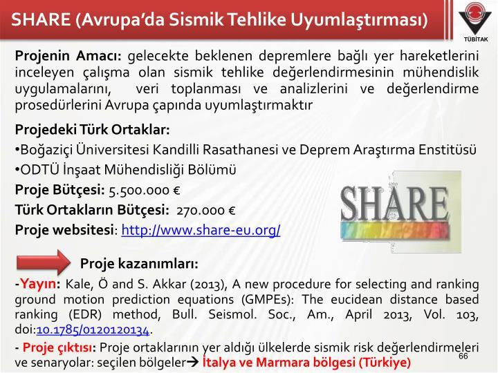 SHARE (Avrupa'da Sismik Tehlike Uyumlaştırması)