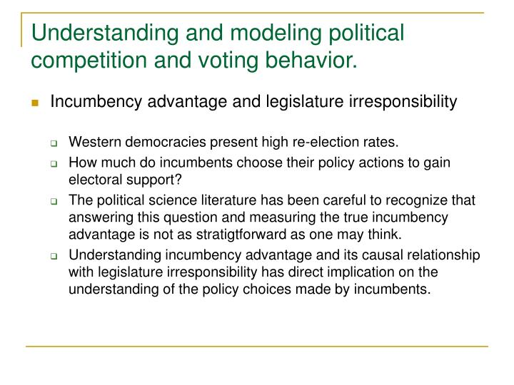 Understanding and modeling political competition and voting behavior.