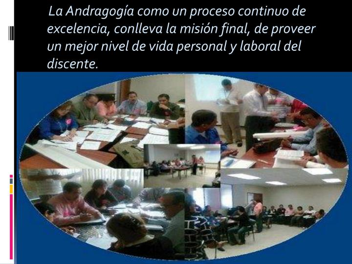 La Andragogía como un proceso continuo de excelencia, conlleva la misión final, de proveer un...