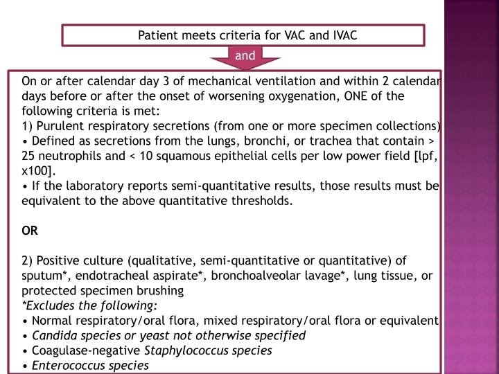 Patient meets criteria for VAC and IVAC