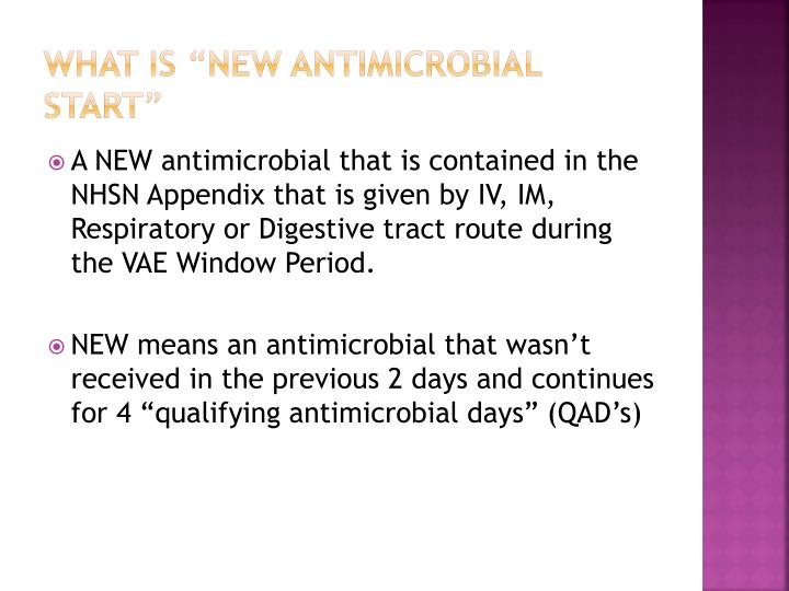 """What is """"New Antimicrobial Start"""""""