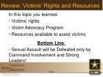 review victims rights and resources
