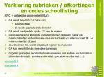 verklaring rubrieken afkortingen en codes schoollisting7