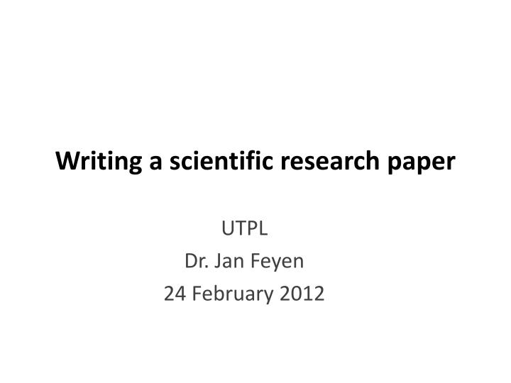 writing a scientific research paper n.