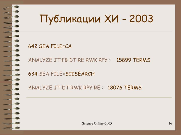 Публикации ХИ - 2003