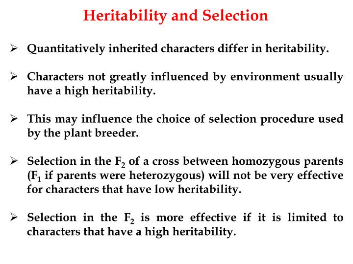 Heritability and Selection