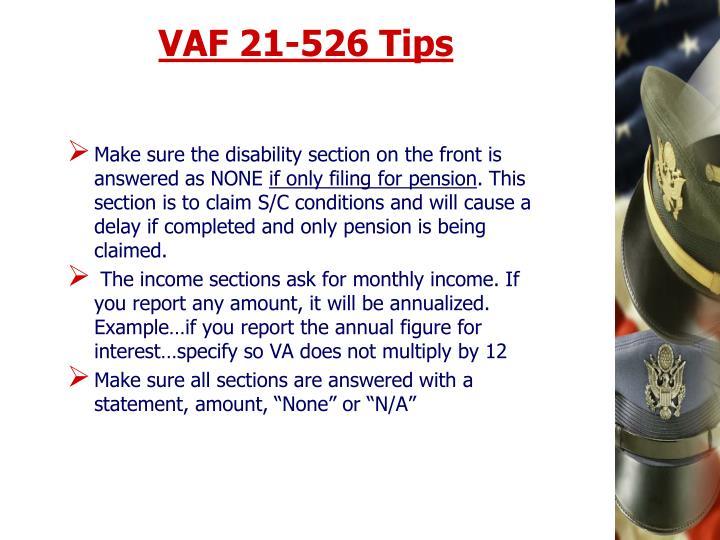 VAF 21-526 Tips
