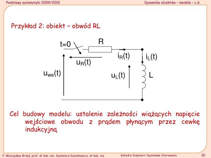 Przykład 2: obiekt – obwód RL