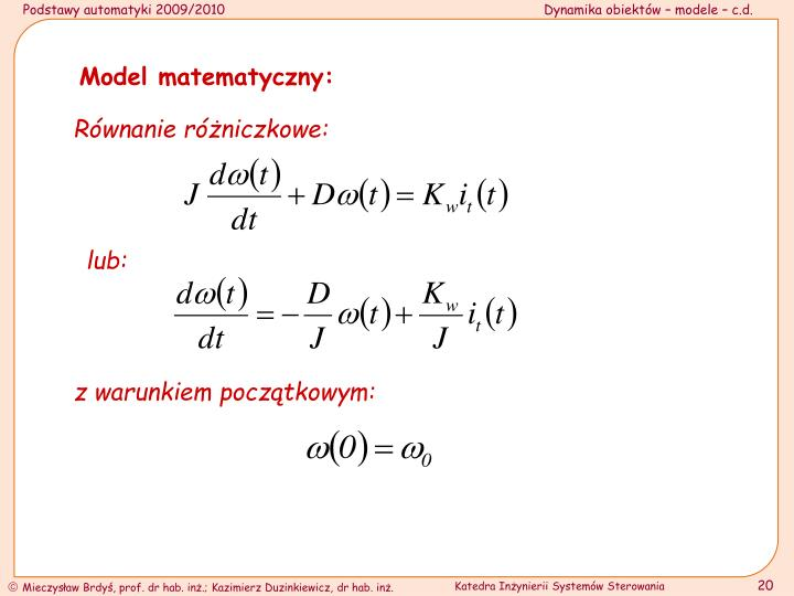 Model matematyczny: