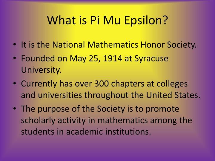 What is pi mu epsilon