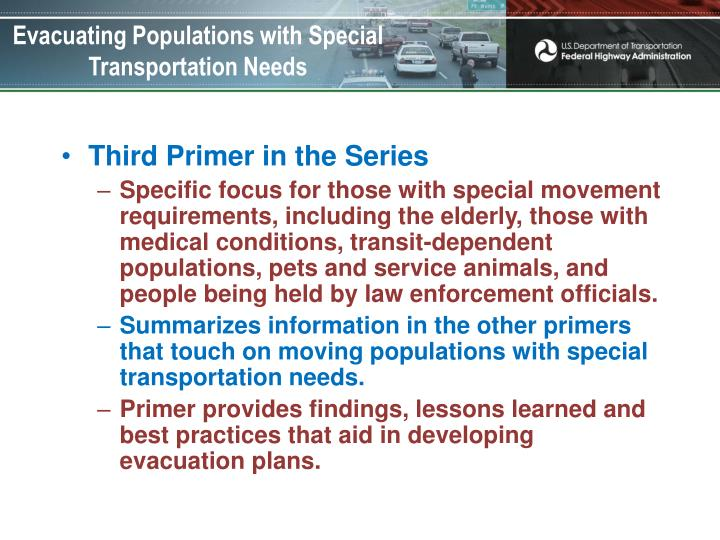 Evacuating Populations with Special Transportation Needs