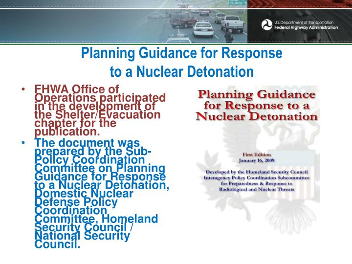 Planning Guidance for Response