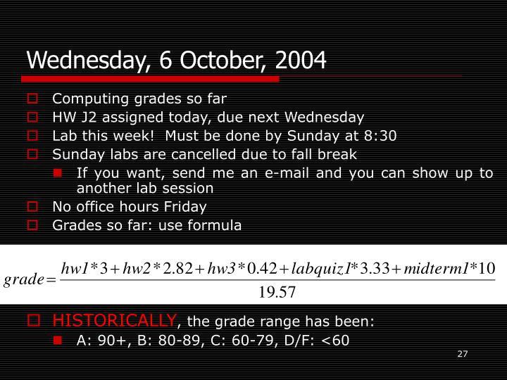 Wednesday, 6 October, 2004