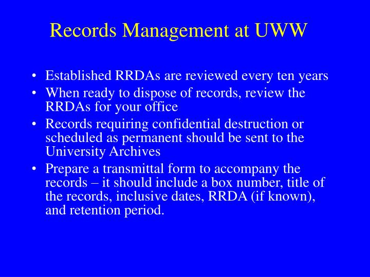 Records Management at UWW