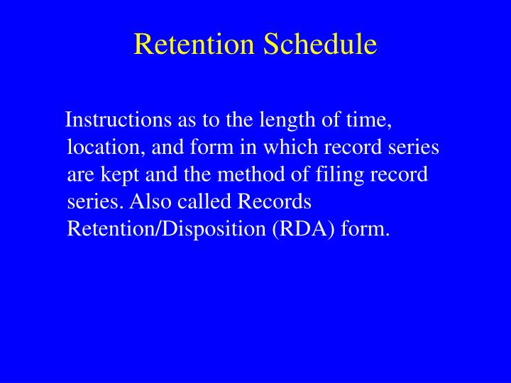 Retention Schedule