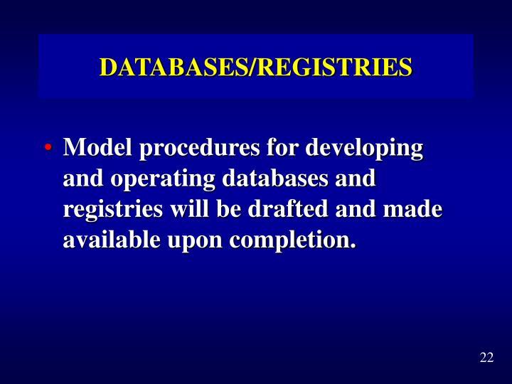 DATABASES/REGISTRIES