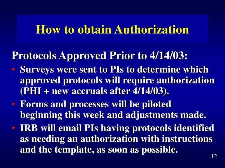 How to obtain Authorization