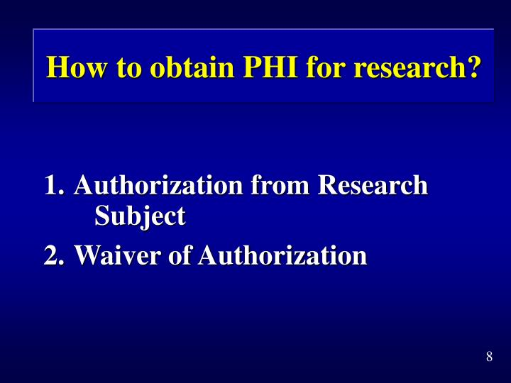 How to obtain PHI for research?