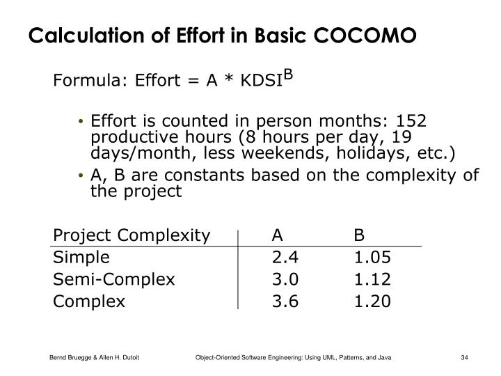 Calculation of Effort in Basic COCOMO