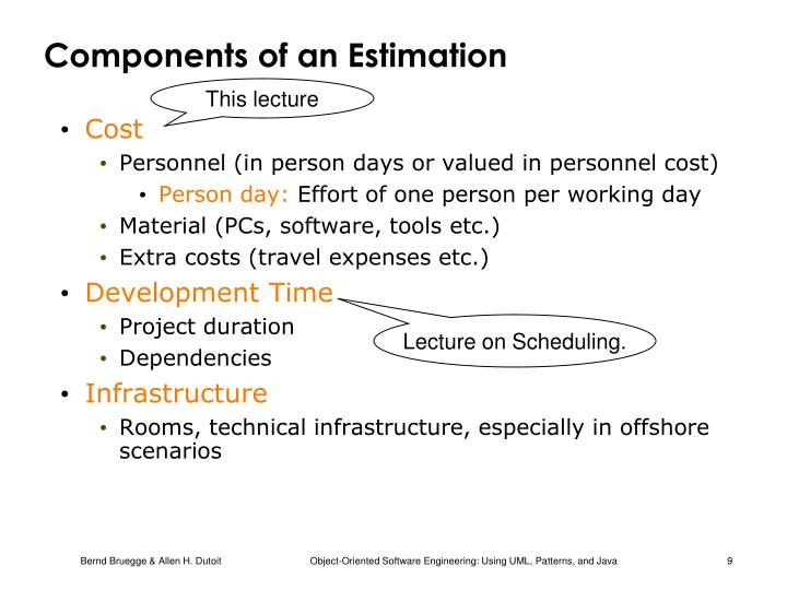 Components of an Estimation