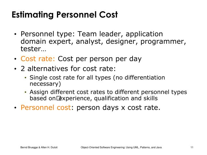 Estimating Personnel Cost