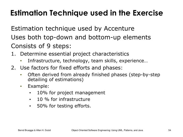 Estimation Technique used in the Exercise