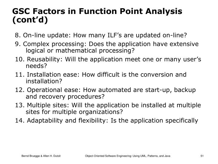 GSC Factors in Function Point Analysis (cont'd)