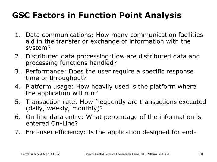 GSC Factors in Function Point Analysis