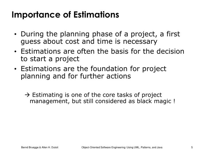 Importance of Estimations