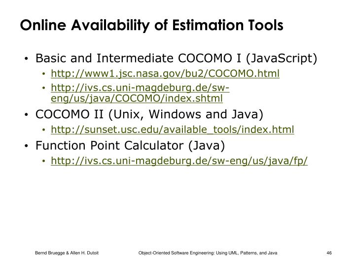 Online Availability of Estimation Tools