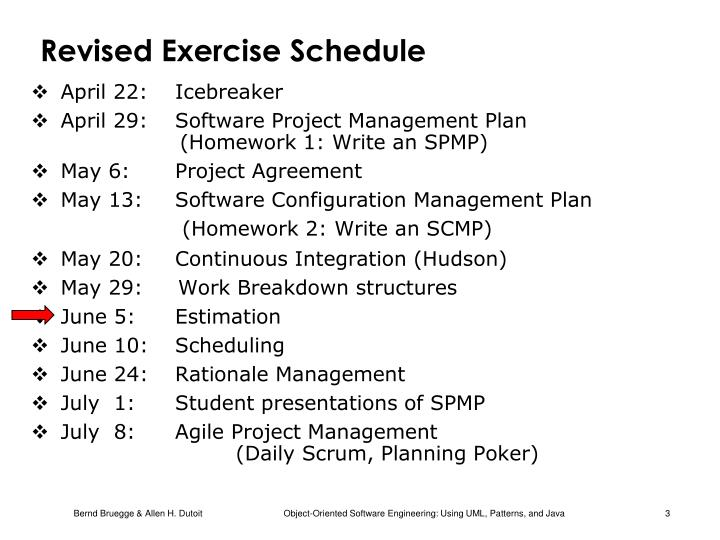 Revised exercise schedule