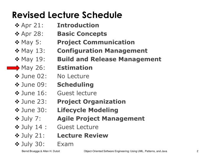 Revised lecture schedule