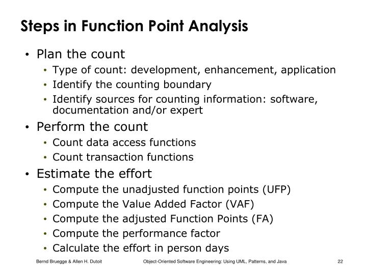 Steps in Function Point Analysis