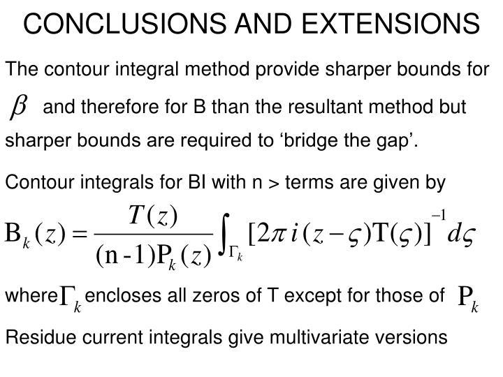 The contour integral method provide sharper bounds for