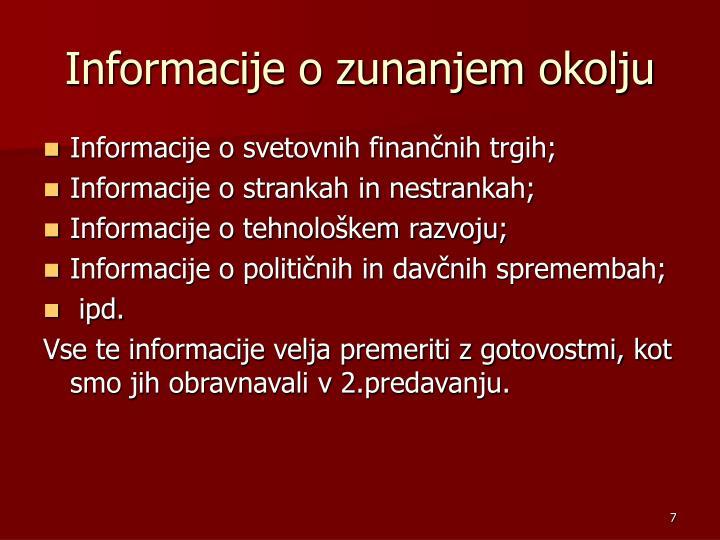 Informacije o zunanjem okolju