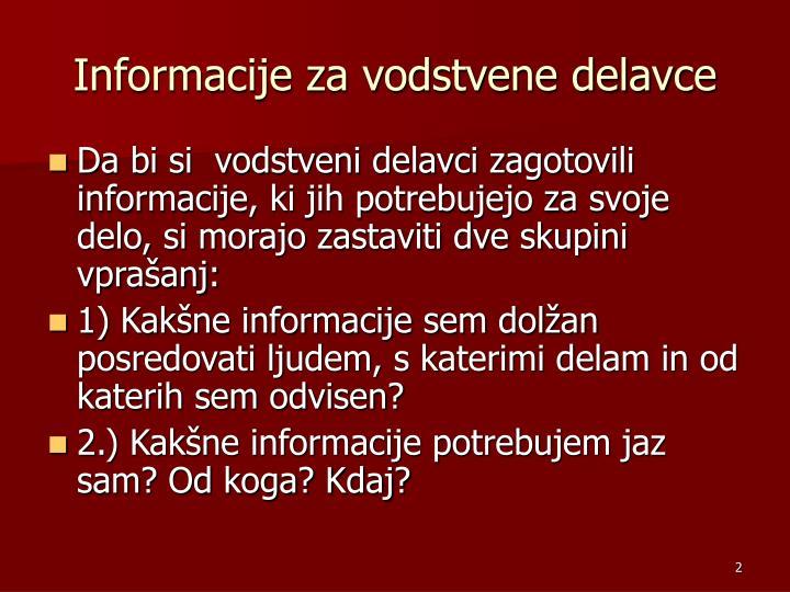 Informacije za vodstvene delavce