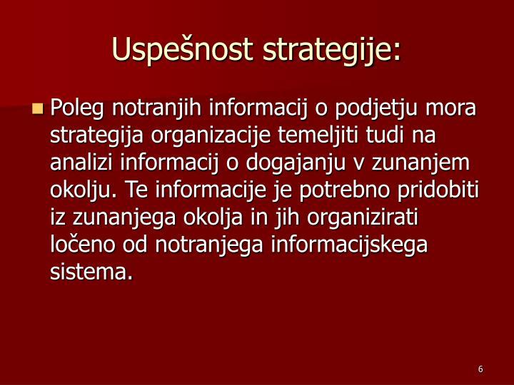 Uspešnost strategije: