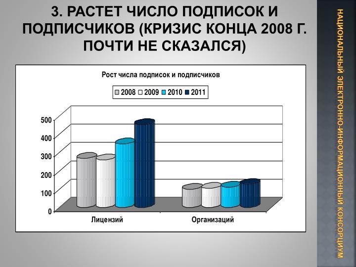 3. РАСТЕТ ЧИСЛО ПОДПИСОК И ПОДПИСЧИКОВ (КРИЗИС КОНЦА 2008 Г. ПОЧТИ НЕ СКАЗАЛСЯ)