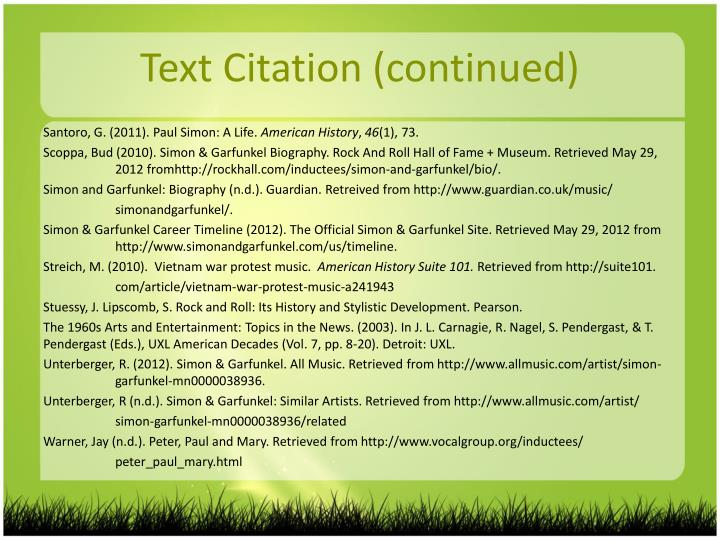 Text Citation (continued)