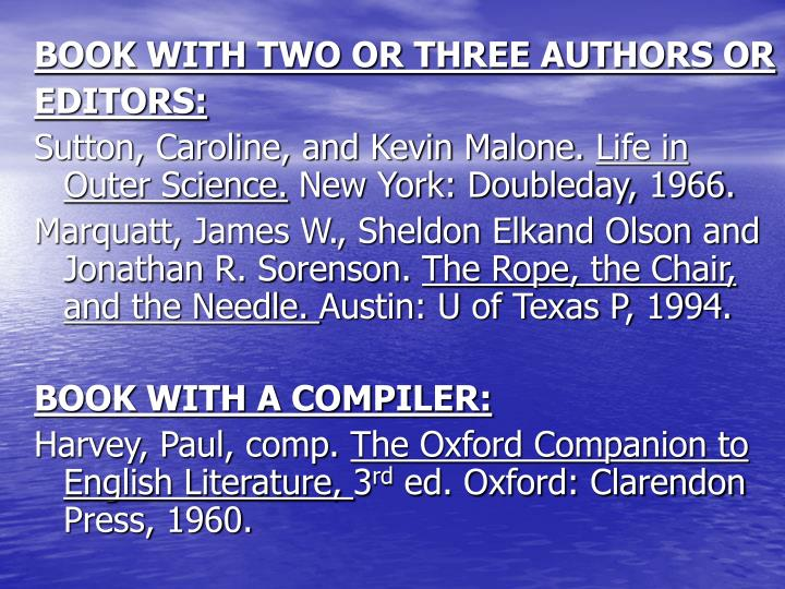 BOOK WITH TWO OR THREE AUTHORS OR