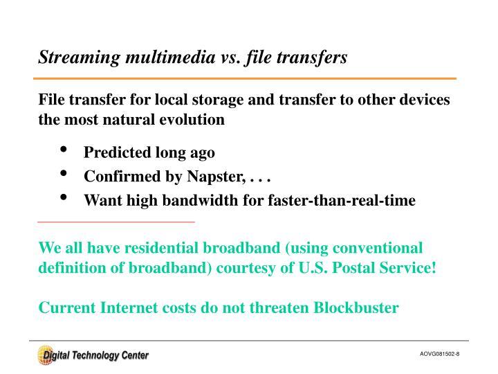 Streaming multimedia vs. file transfers