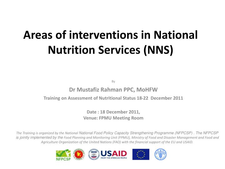 Areas of interventions in national nutrition services nns