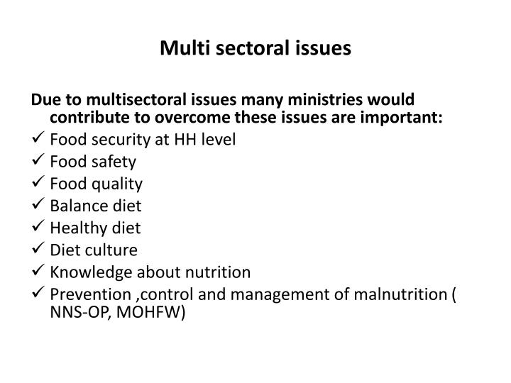 Multi sectoral issues