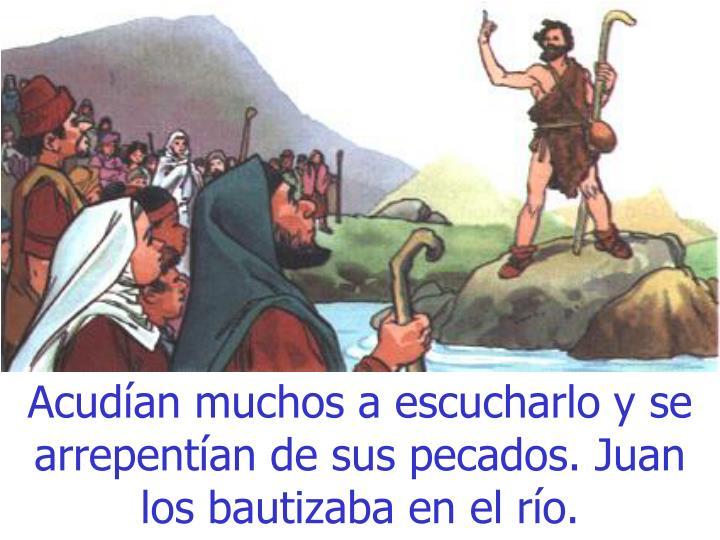 Acud an muchos a escucharlo y se arrepent an de sus pecados juan los bautizaba en el r o