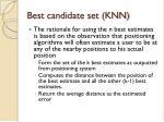 best candidate set knn