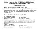 status of conversion of ac bills to dcc bills and withdrawal of fund from mh 8449 as on 15 03 2012