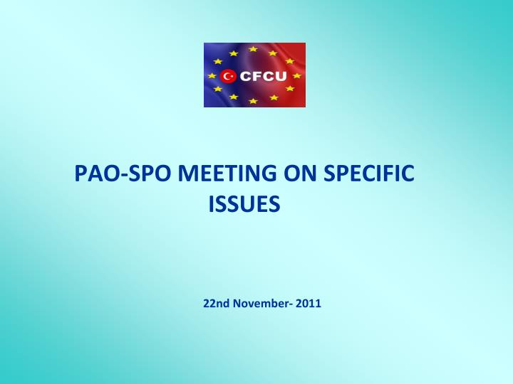 pao spo meeting on specific issues n.