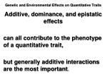 genetic and environmental effects on quantitative traits3