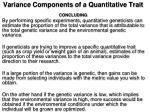 variance components of a quantitative trait concluding