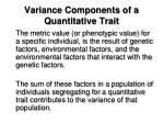 variance components of a quantitative trait